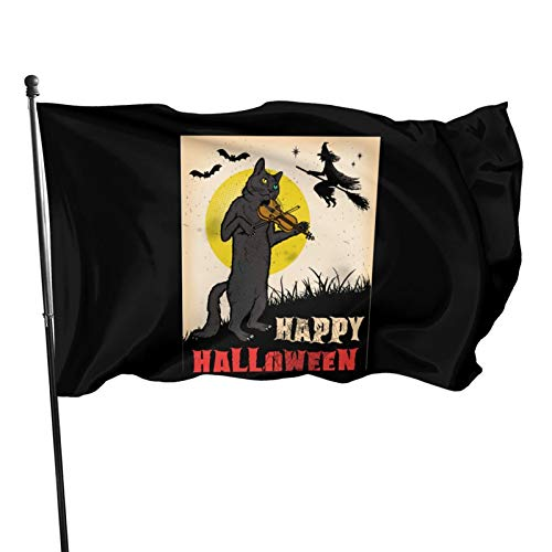 JIYUN Halloween Cat Playing Violin Garden Flags Election Banner for American Flag Decoration Banner Flag 3x5 46 Feet