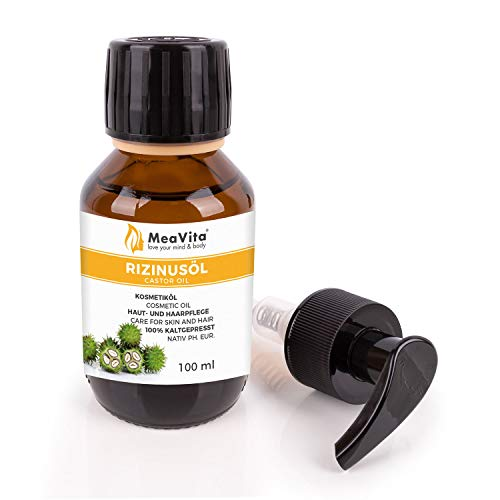 MeaVita Rizinusöl - 100{e52a332b57d9718c59d527b918ef874993d73fd1d8fcd0c1e63e666ff97360cb} reines kaltgepresstes Öl, nativ Ph. Eur., 100 ml, Wimpern Serum, Haaröl, natürliche Haarpflege