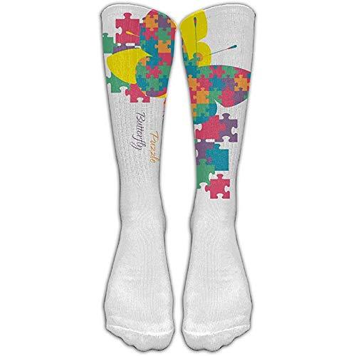 NA Zhongjian unisex kniehoge lange sokken autisme bewustzijn regenboog puzzel vlinder voetbal buis sok