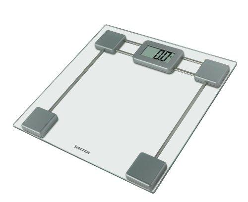 SALTER digitale badkamerweegschaal van gehard glas, elektronische personenweegschaal in kg of st, goed leesbaar display, Step-On technologie