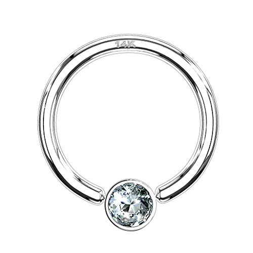 Piercingfaktor BCR Piercing Klemmring Ring 585er Gold 14 KT mit Kristall Septum Helix Ohr Tragus Intim Intimpiercing 1,2mm x 8mm x 3mm Weißgold