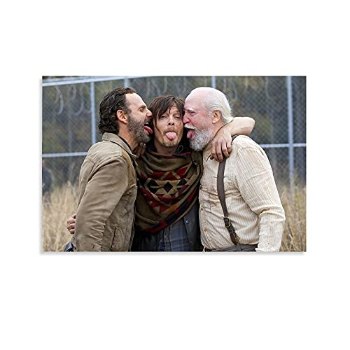 woplmh TV Series Horror Poster The Walking Dead Andrew Lincoln and Norman Radius Canvas Art Poster and Wall Art Picture Print Modern Family Bedroom Decor Posters 12x18inch(30x45cm)