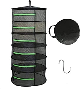 Langroup Herb Drying Rack Net Dryer 6 Layer 2ft Black Collapsible Mesh Hanging Drying Rack With Green Zippers Opening for Garden Outdoor Hanging and drying Hydroponic Plants(Free hook included)
