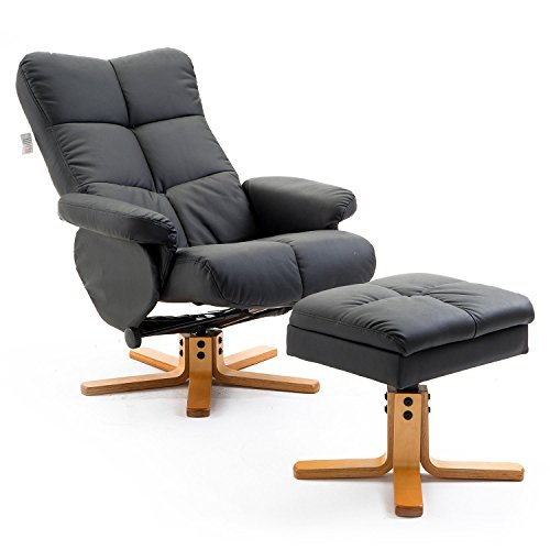 HOMCOM Adjustable Wooden Base PU Leather Recliner Swivel Chair and Ottoman Footrest with Storage (Black)