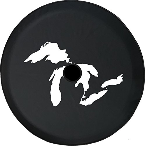 American Unlimited JL Spare Tire Cover with Backup Camera Hole Michigan Great Lakes Fresh Water Detroit Size Black 32 in -  TireJL-C298-Hole32