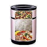 Hammer Inicio apilable de Acero Inoxidable Compartimiento Fiambrera térmica  3-Tier Aislamiento Bento Box/envase de alimento con la Bolsa de Almuerzo aislada, for la manija de Alimentos Calientes FL