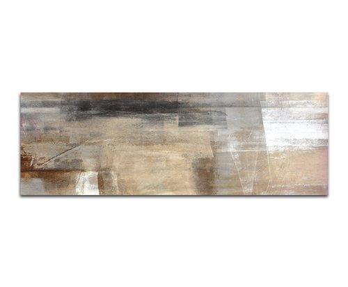 Paul Sinus Art Panoramabild auf Leinwand und Keilrahmen 120x40cm Malerei Kunstwerk abstrakt braun beige