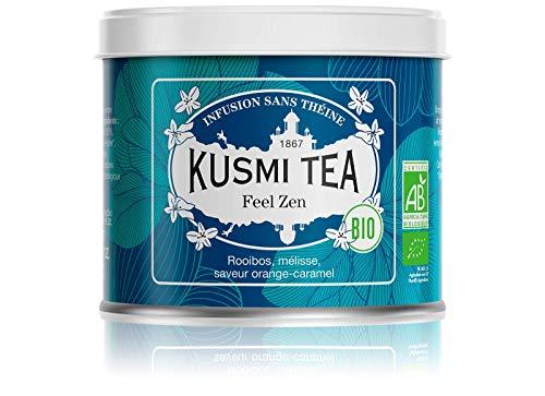 Kusmi Tea Feel Zen Bio - Loser Bio Rooibos Tee mit Apfel, Karamell und Orange Aromen - Koffeinfreie Kräutertee Mischung - 100 g Metall Tee Dose