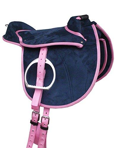AMKA Pony Shetty Reitkissen dunkelblau/pink 10 Sitzfläche Kinder Ponysattel komplettes Set auch für Holzpferde geeignet Cub Saddle Set Selle PONEY Junior
