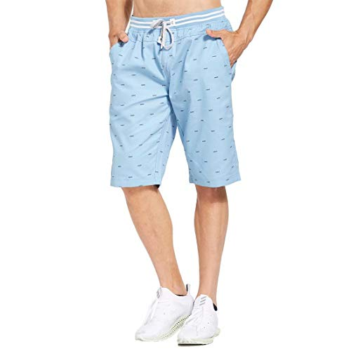 Tansozer Men's Shorts Casual Classic Fit Drawstring Summer Beach Shorts with Elastic Waist and Pockets (Sky Blue, X-Large)