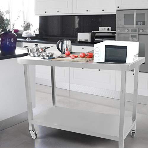 Konserveringsmedel rostfritt stål med hjul Lätt att installera arbetsbänk köksbänk för mellanmål för tvätt
