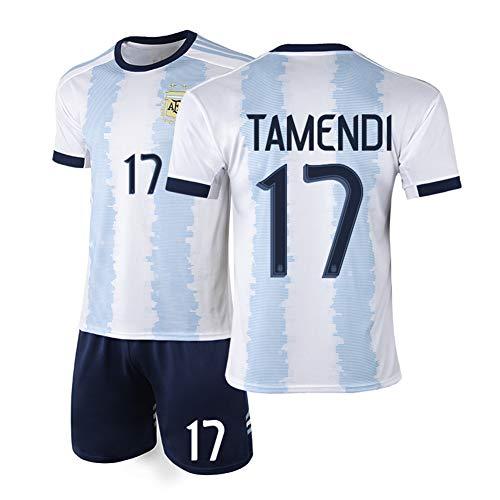 AELN Kinder Fußball Trikot Set-17# Otamendi Argentinien Professionelle technische Kleidung Guard Athlete's Jersey Teenager Sportswear Mesh Schnelltrocknende Kurzarm Fans Sweatshirt-L(175.180CM)