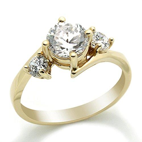 14 karaat Verlovings Ring 1.4ctw Zirkonia Cubic Zirkonia Drie Steen Geel Goud Ring