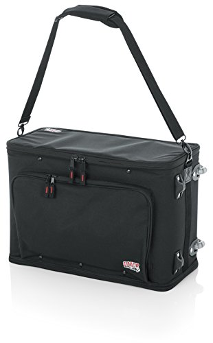 Gator Cases Lightweight Rack Bag with Removable Shoulder Strap, Pull handle, and Wheels; 3U Rack - 12.5' Rackable Depth (GR-RACKBAG-3UW)