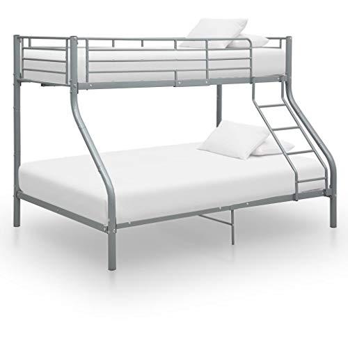 Benkeg Estructura de litera de Metal Gris 140x200 cm/90x200 cm para habitación, Matrimonio, Cama clásica de Dormitorio Estructura de Cama Matrimonio