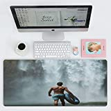 Dkzguq Tappetino Mouse Gaming,Water Waterfall Muscle Man, Tastiera Tastiera Impermeabile Mouse Pad, per Desktop, Laptop