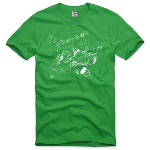 style3 Kart Mario Homme T-Shirt Snes n64 wii u Super Zelda Jeux vidéo Course de Karting, Taille:L;Couleur:Vert