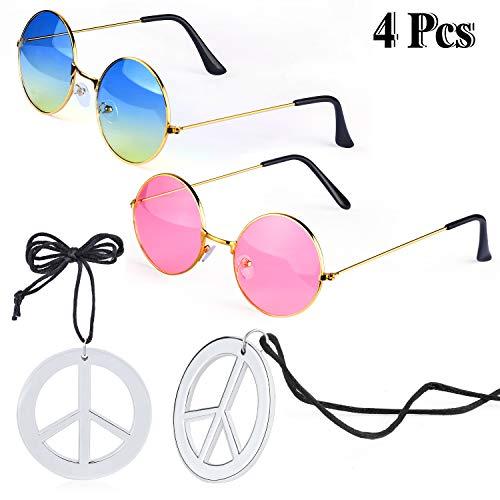Beefunny Hippie Kostüm Zubehör Set 2 Stück Hippie Sonnenbrille Brille und 2 Stück Peace Sign Halskette (A)