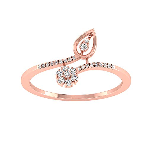 Anillo de compromiso con flor de pétalos de diamante certificado de 0,15 CT, anillo de compromiso con halo de diamante antiguo para novia, anillo ajustable, para mujer, 14K Oro blanco, Size:EU 54