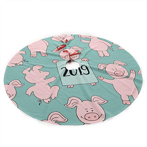 Cool Time Pig 2019 Pink Cute Kawaii Christmas Tree Skirt Cushion Christmas Holiday Party Decoration Decoration Indoor Outdoor