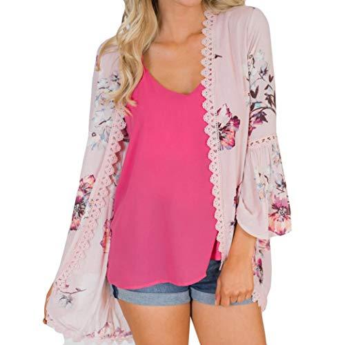 Vovotrade dames gebreide jas vrouwen Lace Floral Open Cape Casual Mantel blouse Kimono jas gebreide jas blauw feestelijke rode natuur open zalmkleuren donkerbruin paars