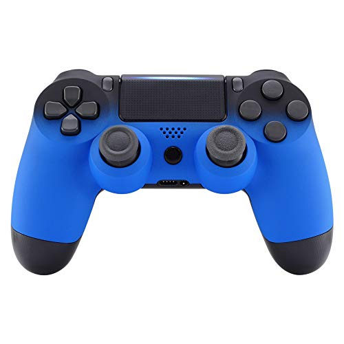 eXtremeRate Shadow Blue Soft Touch Grip Front Housing Shell Faceplate for Playstation 4 PS4 Slim PS4 Pro Controller (CUH-ZCT2 JDM-040 JDM-050 JDM-055) - Controller NOT Included