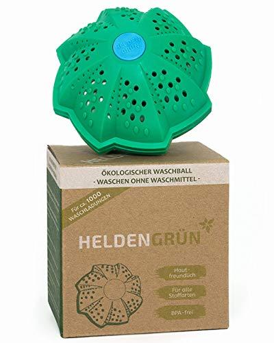 """Heldengrün® Öko Waschball [TESTURTEIL:""""GUT""""] - Nachhaltig Waschen ohne Waschmittel - Laborgeprüfte Qualität - Ideal für Umwelthelden, Allergiker und Familien - Bio Waschkugel mit 4-fach Mineralformel"""