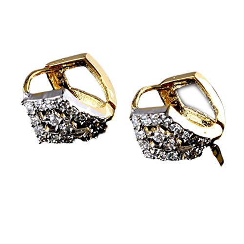 55Carat Antique Leverlock Earrings White CZ Stone Studded Cubic Zircon 14K Gold Plated Earrings for Girls