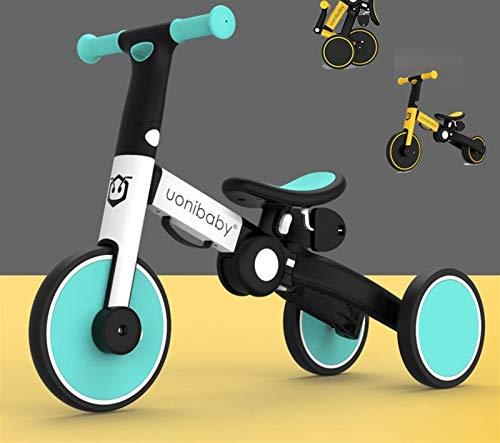 HQYXGS Equilibral, 1-6 años de Edad, bebé, sin pie, Bicicleta de Dos en uno, resbaladizo para niños, Mejor cumpleaños (con Barra de tirón),Azul,Without Putter