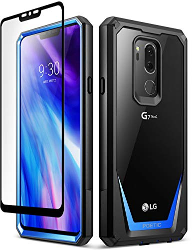 Poetic Guardian Series Case Designed for LG G7 ThinQ, Full-Body Hybrid Shockproof Bumper Clear Cover Case, [with Tempered Glass], Blue