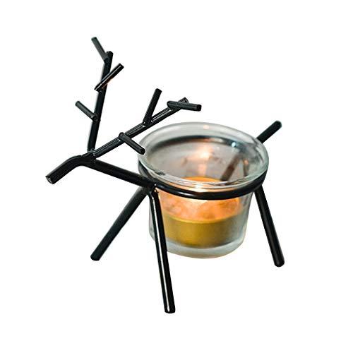 JOYKK Reindeer Set Weihnachtlicher Teelichthalter Tischkerzen Metallständer für Mantel - Dunkel