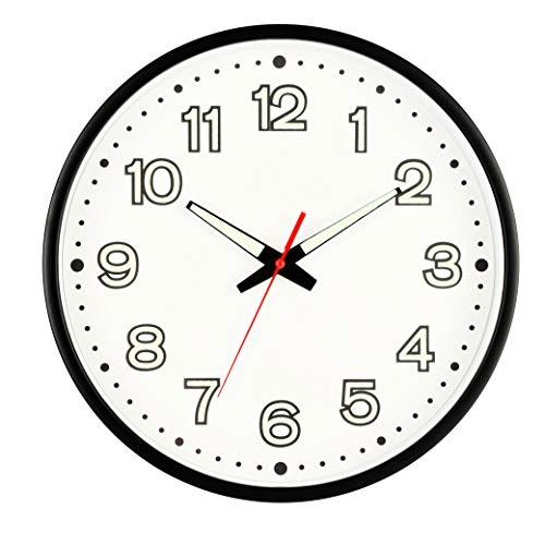Bekith 30cm Horloge Murale Blanche veilleuse Horloge silencieuse