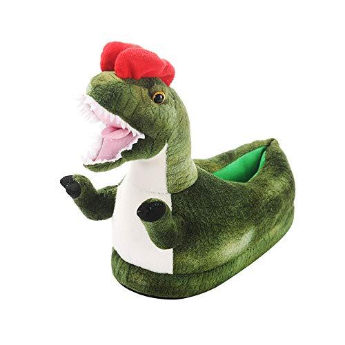 Y-PLAND Zapatillas de Felpa Triceratops, Zapatillas de algodón de Interior de Dibujos Animados de Invierno, otoño e Invierno para Hombres y Mujeres, Zapatillas de algodón antideslizantes-15_US4.5-10