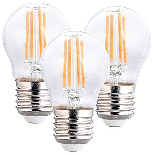Luminea LED Glühbirne: 3er-Set LED-Filament-Lampen, G45, E27, 470 lm, 4 W, 2700 K, dimmbar (LED-Glühbirnen E27)