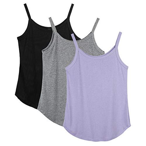icyzone Camiseta de tirantes de yoga para mujer con tiras, camiseta básica de 3 unidades