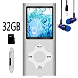 Hotechs MP3-Player/MP4-Player, MP3-Player mit 32 GB Speicherkarte, schlankes Design, digitales LCD-Display, 4,6 cm