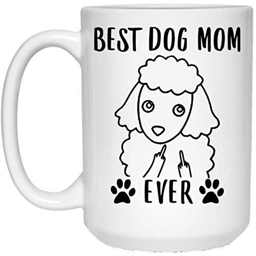 Funny Best - Taza de café en miniatura, diseño de caniche con texto en inglés 'Mom'