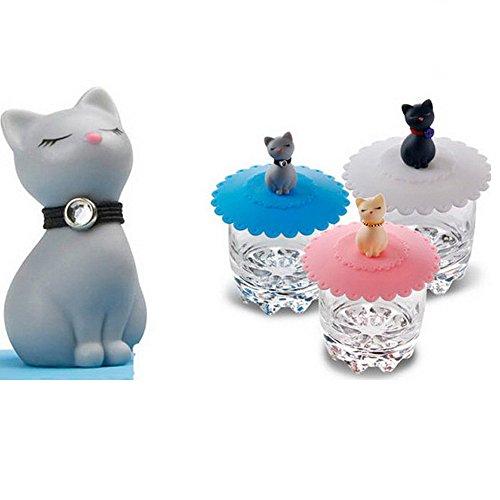 Tangser Silikon-Katzen Tasse Deckel, Anti-Staub-Tee Tasse Abdeckungen, Kaffeebecher Deckel (Katze, 3 Stück)