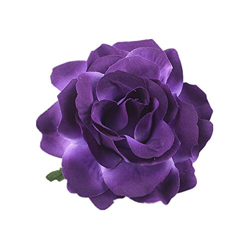 Lovefairy Beautiful Rose Flower Hair Clip Pin up Flower Brooch for Party Travel Festivals (Dark Purple)
