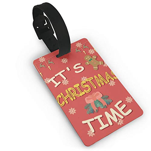It's Merry Christmas Time Best Wishes Luggage Tags, Initial Bag Tag Travel ID Labels Tag For Baggage Suitcases Bags