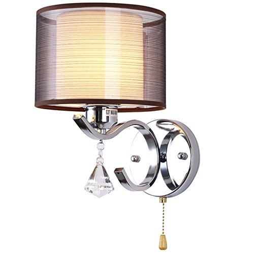 Lámpara de Pared Cadena de Tiro E27 Metal Sala de Estar Dormitorio Mesita de Noche Hotel Tejido Cepillado Sombra Apliques de Pared