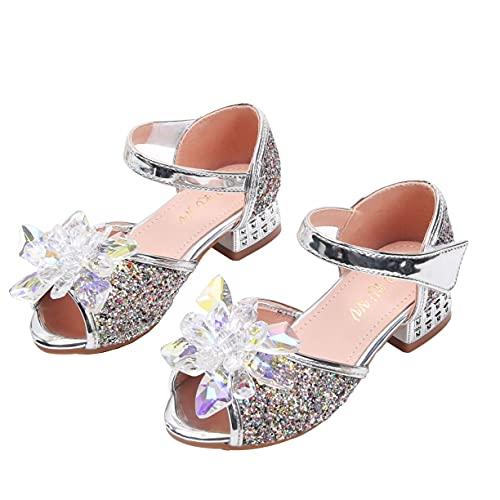 iEFiEL Niñas Niños Princesa Zapatos Sandalia Verano Zapatillas Fiesta Lentejuelas Zapatillas de Baile Zapatitos de Tacón de Vestir de Chicas Sandalias para Niñas 3-14 Años Plateado 35