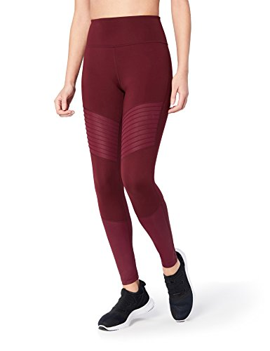 "Amazon-Marke: Core 10 Damen Yogaleggings ""The Dare Devil"", (XS-3X) aus der ""Icon Series"", mit hoher Taille, 71,1 cm Länge, Rot (merlot/merlot shine), US M (EU M - L)"
