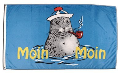 Flagge Moin Moin Seehund mit Pfeife 2-90 x 150 cm