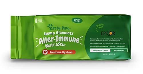 Zesty Paws Allergy & Immune Dental Sticks for Dogs - with Hemp, Turmeric, EpiCor, Fish Oil & Bone Broth - Dog Teeth Cleaning & Tartar Control Treats - Anti Itch & Skin Hot Spots + Seasonal Allergies