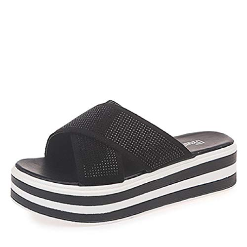 Les Femmes Strass Sandales Plates-Formes Peep Toe Glitter Slip Strap Slip Casual Pantoufles