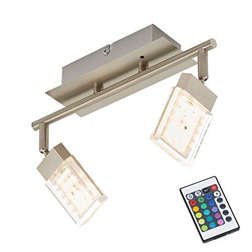 Briloner Leuchten 2530-022 LED Deckenstrahler, Farbsteuerung/Farbwechsel mit Fernbedienung, dimmbar, schwenkbar