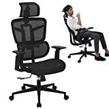SAMOFU Office Chair - Ergonomic High Back Desk Chair with Backrest Lifting, Waistrest Angle Adjustment-Reclining & Rocking Mesh Computer Chair with Adjustable Headrest,Armrest