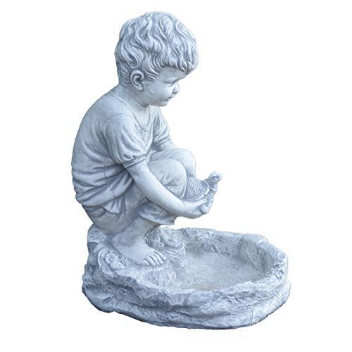 gartendekoparadies.de Massive Steinfigur Junge mit Vogeltränke Kinderfigur aus Steinguss frostfest