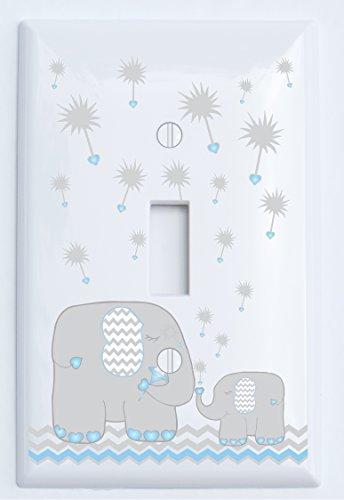 Single Toggle Blue and Grey Dandelion Elephant Light Switch Plates Covers/Elephant Nursery Decor (Blue Dandelion Elephant Swith Plate)